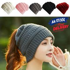 981fb24c0cd1b Fashion Knitting Warm with A Ponytail Stretchy Beanie Cap Wool Hat Women s
