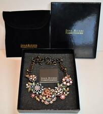 "New Original Box & Pouch Signed JOAN RIVERS Black Metal Rhinestones 21"" Necklace"