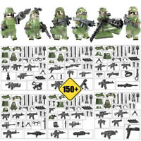 6pcs/lot Military Soldier Figures Building Blocks with Army Weapons Toys Bricks
