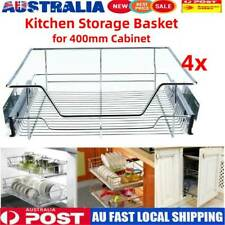 4pcs Pull out Pantry Drawer Basket Wire Sliding Roll Cabinet Storage Fit 400mm