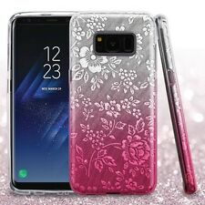 For Samsung Galaxy S8+ PLUS - SIlver Pink Embossed Flower Full Glitter Skin Case
