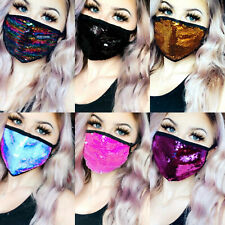 NEW Adult Face Mask SEQUIN/BLING /SPARKLE Stunning Colours Reversible Sequins UK