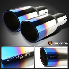 "2.5"" Inlet 3.875"" Outlet Dual Chrome S/S Exhaust Muffler Titanium Burnt Blue Tip"