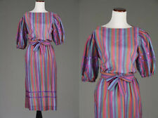 Vintage 70s Belted Rainbow Secretary Dress Stripe Ribbon Balloon Slv L