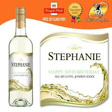 PERSONALISED WHITE WINE BOTTLE LABEL BIRTHDAY ANY OCCASION GIFT