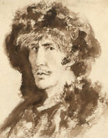 Sepia 19th Century Watercolour - Portrait of Henry Irving