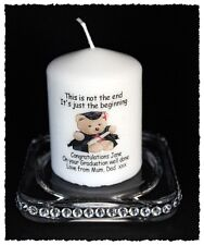 "Graduation Congratulations  3""candle personalised gift  TEDDY BEAR design #8"