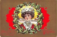 Christmas~Victorian Lady in Holly Berry Wreath~Ermine Fur Hat~Gold Red Back~Emb