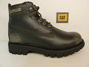 Cat Caterpillar Melody Black Steel Burnished Leather Lace Up Ladies Boot Shoe