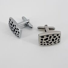 Men's cuff links Black Enamel Leopard Spotted Silver Toned Metal Cylinder Toggle