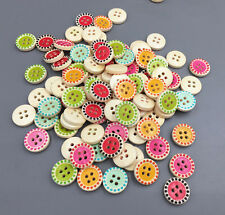 100pcs DIY 4 hole Round Wooden Buttons Fit Sewing Mix scrapbook 15mm