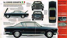 FIAT 2300 COUPE SPEC SHEET/Brochure/Catalog:1964,1965,