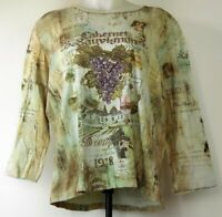 Cactus L/S Green 3/4 Sleeve Cabernet Sauvignon Wine Bling Shirt 1X Made in USA