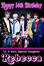 NEW BTS BANGTAN BOYS Personalised Birthday Card ANY NAME / AGE / RELATION KPOP 3
