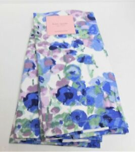 2 NEW KATE SPADE KITCHEN TOWELS 18X28 PURPLE BLUE WATERCOLOR FLORAL 100% COTTON