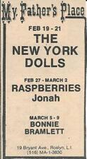 New York Dolls My Father's Place Original Newspaper Ad February 19-21 1975