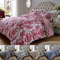 200TC Cotton Rich Damask Print Duvet Quilt Cover Double King Super Bedding Set