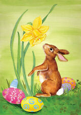 #63 TOLAND BUNNY WITH EGGS AND DAFFODIL FLOWER  SPRING EASTER LARGE HOUSE FLAG