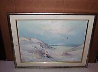 BEACH Ocean Little Girl Seagulls Seascape Original Oil On Canvas Rimer?