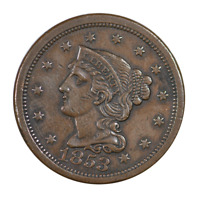 1853 Braided Hair Large Cent About Uncirculated Condition