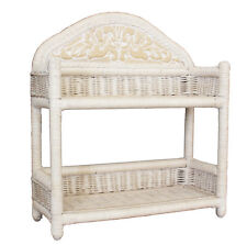 Natural White Wash Cane/Wicker/Rattan 2 Tier Bath Shelf Storage Unit