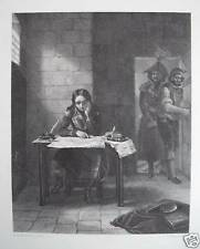 NAPOLEON IN PRISON : Original Etching Engraving. Over 100 years ago