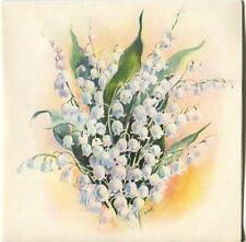 VINTAGE WHITE LILY OF VALLEY GARDEN PRINT 1 BED BREAKFAST CAT SEA TEA POT CARD