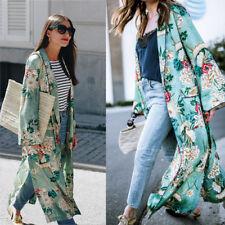 Fashion Women Bohemia Floral Print Long Kimono Oversized Casual Beach Shawl Tops