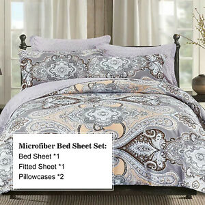 4 Piece Brushed Microfiber Bedding Sheet Set Collection -Rohman , King Size