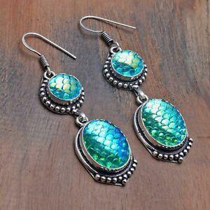 "Rainbow Fish Titanium Handmade Drop Dangle Earrings Jewelry 2.2"" AE 21792"