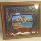 """Vintage  CANADA MOLSON  Beer Ale Wood Framed Glass Mirror Beer Brew Sign20""""X19"""""""