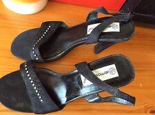 Woman's Black Strappy Heel Shoes,size 4 Diamanté Design On Front
