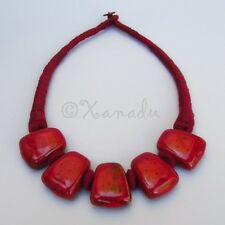 Crimson Red Porcelain Necklace With Eclectic Maroon Red Cotton Thread Chain