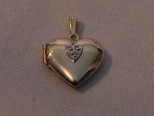 14K Gold Heart Locket Pendant with small diamond