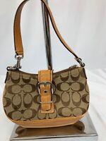 Coach Handbag 6362 Brown Canvas and Leather Shoulder Bag