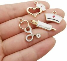 4 Nurse Charms Doctor Pendants Themed Gold Enamel Assorted Medical Jewelry