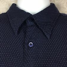 SYNRGY Shirt Mens Size XL Navy Blue Polk Dots SS Classic Casual Button Front