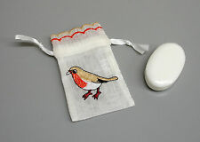 50 New Soap filled English Garden Robin Embroidered Wedding Favour Bags ZB32