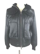 Opifix Size 44 or Large Black Leather Reversible Hooded Bomber Zip Jacket Italy