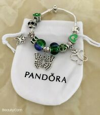 ❤️Pandora Bracelet Silver with Butterfly Charm LOVE with European Charms