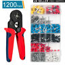 Crimp Tool Kit Ferrule Crimper Plier Wire Stripper+1200X Connector Wire Terminal