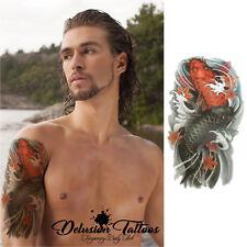 KOI CARPS & LOTUS FLOWER TEMPORARY TATTOO BODY ART MENS, WOMENS, STICK ON TATTOO