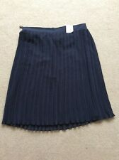 BNWT Ladies Size 20 M&S Navy Blue Fully Lined Pleated Flare Skirt