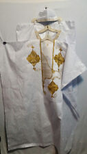 Men,s Grand  Boubou Pant Suit w/ Hat White African Brocade Cotton Gold Free Size