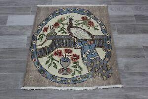 Anatolian Hand Knotted Vintage Carpet Animal Print Oushak Wool Doormat Rug 2x3ft