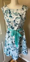 jaques vert Size 12  Petite Vintage Look Dress Summer Wedding Pretty Floral New