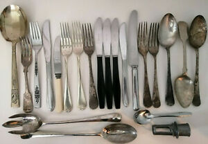 Mixed Job Lot of Vintage/Antique Cutlery - Silver Plated/Stainless etc (B)