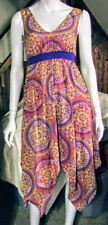 """ROUTE 66"" WOMANS  MEDIUM (M) HI/LO SUMMER SUNDRESS PURPLE/ORANGE GEOMECTRIC NWT"