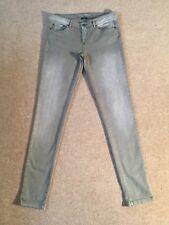 IKKS DENIM pale khaki green skinny stretchy jeans - UK 12 - New - £125