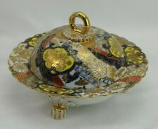 Unmarked Nippon Gold Moriage Covered Butter Footed Cobalt Imari